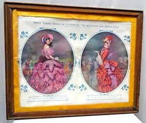 VINTAGE PRINT LITHOGRAPH ON PAPER WOODEN FRAMED GENUINE EUROPEAN COLLECTIBLES #2