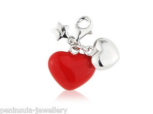 Tingle Sterling Silver Charm clip on Double Heart with Gift Bag and Box SCH186