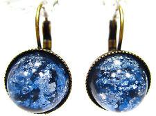 SoHo® Ohrhänger vintage bohemia cabochon crushed blue handgemachtes Glas antik