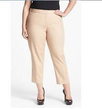 NWT $99 ANNE KLEIN Womens Plus Beige Straight Leg Cropped Trouser Pants 16 16W