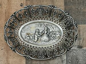 Antique German Oval Repousse Reticulated 800 Grade Silver Bowl floral lady & man