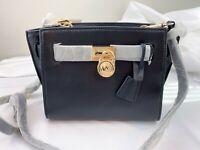 NWT Michael Kors Hamilton Traveler Messenger Leather Bag Black/Gold
