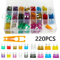 220X Assorted Mini&Standard Auto Blade Fuses Holder Car Auto Van Fuse Set 2-35A