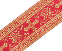 """Gothic Vestment Chasuble Trim Metallic Jacquard Gold on Red 2"""" Wide 3 Yards Long"""