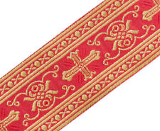 "Gothic Vestment Chasuble Trim Metallic Jacquard Gold on Red 2"" Wide 3 Yards Long"