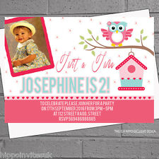 Personalised Girls Twit a Twoo 2nd Photo Birthday Party Invitations x 12 H0555