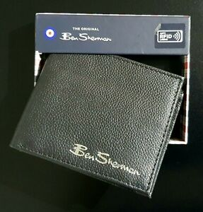 Ben Sherman Men's Black Leather Wallet with Coin Pocket & RFID Brand NEW & Boxed