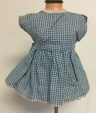 """Vintage Blue & White Checkered Doll Dress w/ Snap & Tie Back 6 1/2"""" Long"""