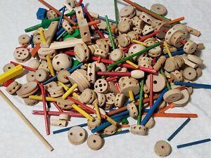 Lot 300 pc Vintage Tinker Toys Mixed Lot Wooden Wheels, Sticks,