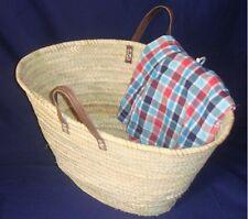 Einkaufstasche aus Palmblatt sehr stabile Ausführung Griffe aus Leder kurz