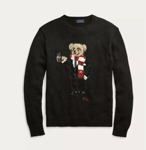 POLO RALPH LAUREN Mens COCOA POLO BEAR LIMITED EDITION Black HOLIDAY Sweater-Sm