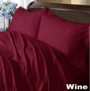 Wine Striped Deep Pocket Bed Sheet Set 1000 Count 100% Egyptian Cotton Sheet