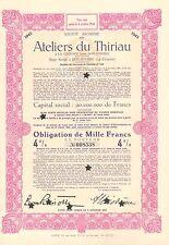 SA des Ateliers du Thiriau, obligacion, 1943 (Siege: Bois d' Haine, La Croyere)