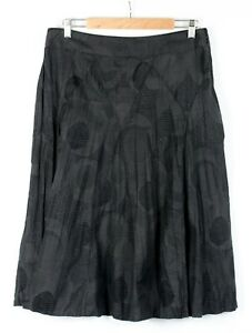 SUZANNE GRAE Skirt Sz 12 Black Jacquard Crinkle Weave Panelled Casual Side Zip