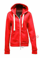 LADIES WOMENS FLEECE PLAIN HOODED ZIP TOP HOODIE SWEATSHIRT JACKET GYM TOP COAT