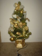 2 FT. ARTIFICIAL PINE (W/GOLD COLORED DECORATIONS & BASE) PRE-LIT CHRISTMAS TREE