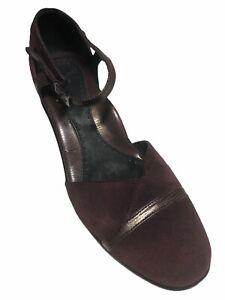 Dansko Women's Burgundy Suede Mary Jane Roxy Strap Mules - Size 40/EU  9.5/US