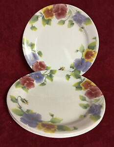 SET OF 4 CORELLE SUMMER BLUSH BREAD & BUTTER PLATES PANSIES by CORNING  #21425