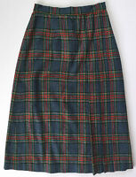 Vtg Womens Blue Red Green White Yellow Pleated Tartan Plaid Wool Skirt Sz 24.5 W