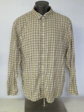 Mens Life Is Good Flannel Shirt Size XL Long Sleeve Button Front Green Beige