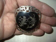 Vintage SIAM STERLING Silver & Black Enamel Niello Heart Brooch Pin - 9 Grams