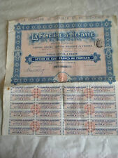 Vintage share certificate Stocks Bonds MLa Foncière de Hendaye et sud ouest 1910