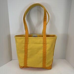 Vintage USA made LL BEAN Boat and Tote Canvas Bag Yellow & Orange rare color