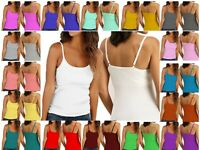 WASNV Women Ladies Plain Stretch Normal Vest Tank Top with Adjustable Cami Strap