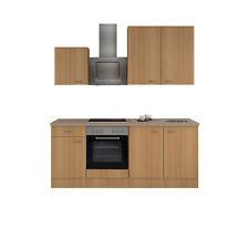 Küchenblock mit E-Geräten Einbauküche Küchenzeile Elektrogeräte 210 cm buche