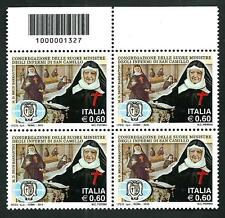 Italia Repubblica 2010 - Suore di San Camillo - quartina con codice a barre