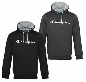 Champion Herren Kapuzenpullover SCHWARZ GRAU Hoodie Sweatshirt Pullover SALE