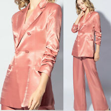Women Shiny Silk Suits High-end Formal Office Business Party Tuxedos Two Pieces