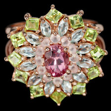 GENUINE AAA MULTI COLOR TOURMALINE PERIDOT TOPAZ STERLING 925 SILVER RING 8.75