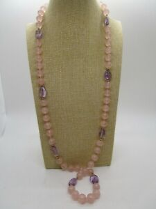"""14K Yellow Gold Spacers and Clasp Rose Quartz Purples Amethyst Bead Necklace 32"""""""