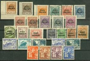Poland Port Gdansk (Danzig) 1925/38, Different Stamps Lot Mixed Condition