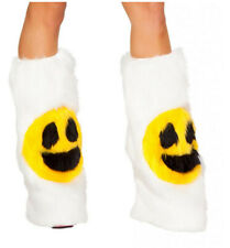 J Valentine Happy Smiley Face Faux Fur Legwarmer (White) NEW