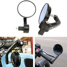 "Black Bar End Rear View Mirrors Handlebars 7/8"" For Suzuki Burgman 400 650"