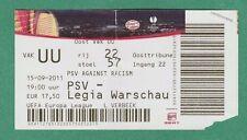 Orig.Ticket   Europa League  2011/12  PSV EINDHOVEN - LEGIA WARSCHAU  !!  SELTEN