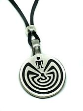 Man in the Maze Life Pendant Beaded Corded Necklace Tohono Hopi Native Indian