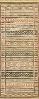 Geometric Tribal Ivory Kilim-Sumak Oriental Narrow Runner Rug Hand-Woven 2x7 New