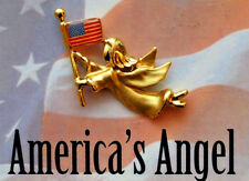 America's Angel Patriotic Gold Tone Angel, Enameled Usa Flag Lapel Pin / Brooch