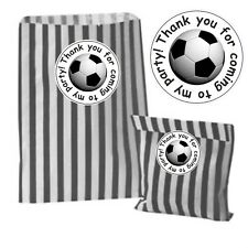 26 Black Striped Bags & 26 Football Thanks for coming to my party stickers kids