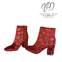 Calvin Klein Mable Women's Ankle Boots Burgundy Faux Fur Animal Print Size 5 Uk