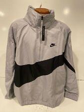 Men's Nike Sportswear Anorak Big Swoosh Half-Zip Jacket Grey Black L AJ1404 012