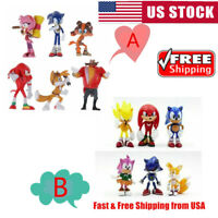 6pcs Sonic Boom Sonic the Hedgehog Dr Eggman Action Figure Doll Toy Cake Topper