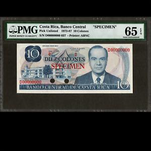 Banco Central Costa Rica 10 Colones 1972-87 SPECIMEN PMG 65 GEM UNC EPQ P-237s
