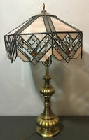 Large Vintage Arts Craft Mission Slag~Stained~Glass Table Lamp~Art Deco~Amber