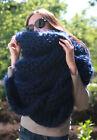 5 strands 1kg Premium Mohair EXTRA LONG SCARF hand knit dark blue Men Women