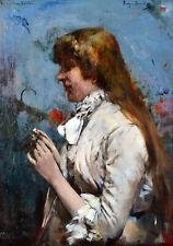 Ferry BERATON (1866-1900) PORTRAIT IMPRESSIONNISTE 1883 CADRE TABLEAU ANCIEN