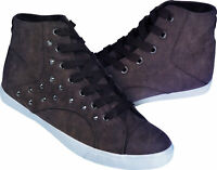 modische Damen Sneaker mit Metallnieten High Top Sneakers Schnürschuh Freizeit